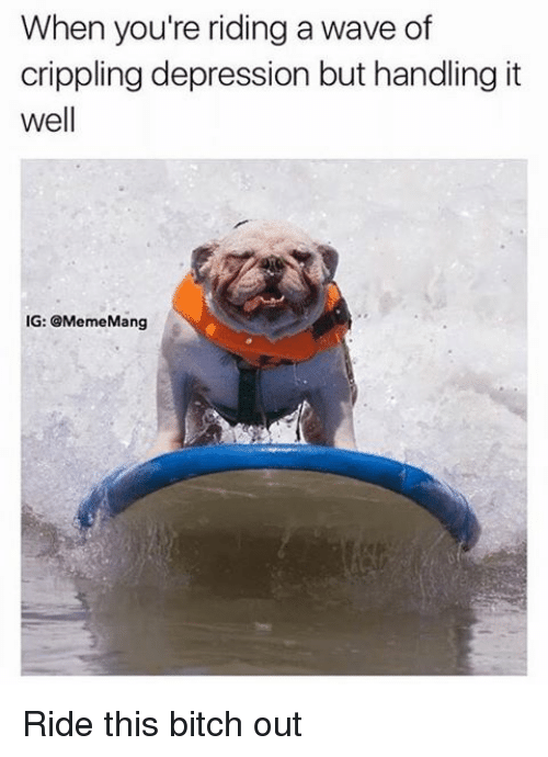 Bitch, Depression, and Dank Memes: When you're riding a wave of  crippling depression but handling it  well  IG: GMemeMang Ride this bitch out