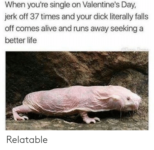 Alive, Life, and Valentine's Day: When you're single on Valentine's Day,  jerk off 37 times and your dick literally falls  off comes alive and runs away seeking a  better life Relatable