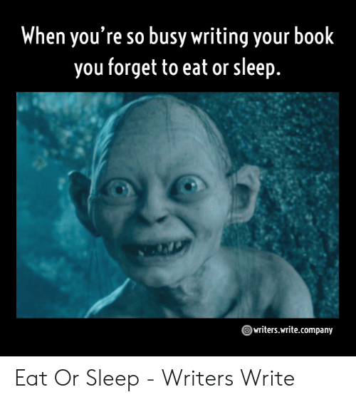 When You're So Busy Writing Your Book You Forget to Eat or Sleep  Writerswritecompany Eat or Sleep - Writers Write   Book Meme on ME.ME