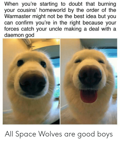 God, Best, and Good: When you're starting to doubt that burning  your cousins' homeworld by the order of the  Warmaster might not be the best idea but you  can confirm you're in the right because your  forces catch your uncle making a deal with a  daemon god All Space Wolves are good boys
