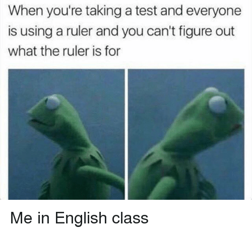 Ruler, Test, and English: When you're taking a test and everyone  is using a ruler and you can't figure out  what the ruler is for Me in English class