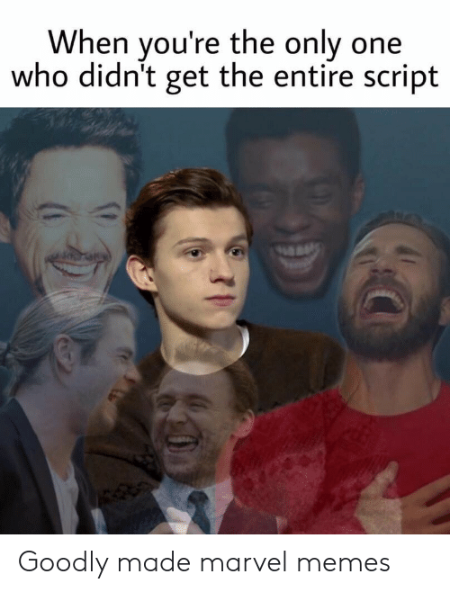 Memes, Marvel, and Only One: When you're the only one  who didn't get the entire script Goodly made marvel memes