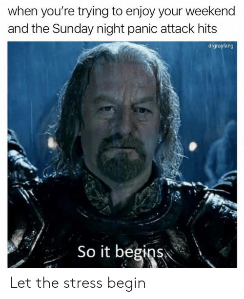 Sunday, Stress, and Weekend: when you're trying to enjoy your weekend  and the Sunday night panic attack hits  drgrayfang  So it begins Let the stress begin