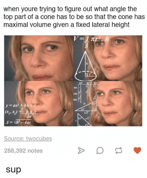 Memes, 🤖, and Source: when youre trying to figure out what angle the  top part of a cone has to be so that the cone has  maximal volume given a flxed lateral height  sin  cos  tan  2x  VS  (a  Source: twocubes  288,392 notes sup