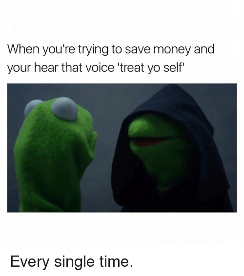 Money, Yo, and Time: When you're trying to save money and  your hear that voice 'treat yo self Every single time.