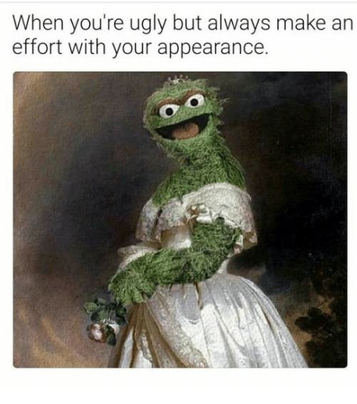 Ugly, Make, and Youre: When you're ugly but always make an  effort with your appearance.
