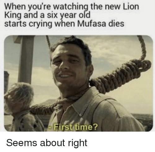 Crying, Mufasa, and Lion: When you're watching the new Lion  King and a six year ofd  starts crying when Mufasa dies  First time? Seems about right