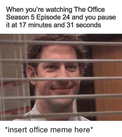 Meme, The Office, and Office: When you're watching The Office  Season 5 Episode 24 and you pause  it at 17 minutes and 31 seconds *insert office meme here*