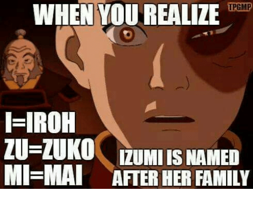 Family, Her, and Zuko: WHEN YOUREALIZEoail  IPGMP  I-IROH  ZU-ZUKO  LUNOIZUMI IS NAMED  MAI AFTER HER FAMILY