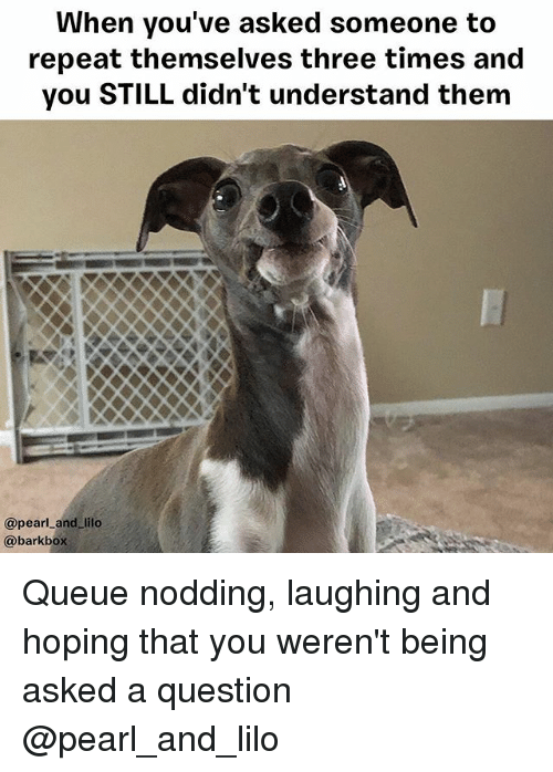 Memes, 🤖, and Pearl: When you've asked someone to  repeat themselves three times and  you STILL didn't understand them  @pearl_and_lilo  @barkbox Queue nodding, laughing and hoping that you weren't being asked a question @pearl_and_lilo