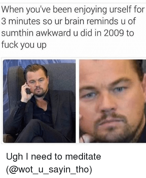 Brains, Fuck You, and Fucking: When you've been enjoying urself for  3 minutes so ur brain reminds u of  sumthin awkward u did in 2009 to  fuck you up Ugh I need to meditate (@wot_u_sayin_tho)