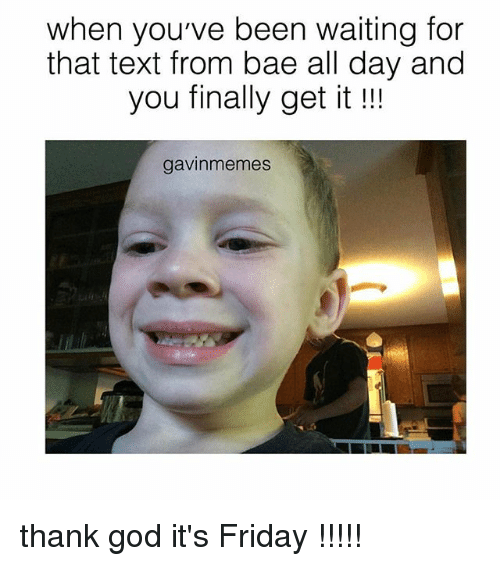 Bae, Friday, and God: when you've been waiting for  that text from bae all day and  you finally get it  gavin memes thank god it's Friday !!!!!