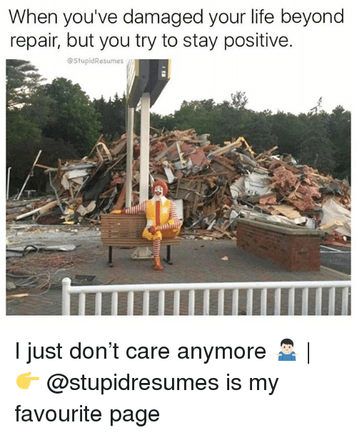 Life, Memes, and 🤖: When you've damaged your life beyond  repair, but you try to stay positive.  @StupidResumes  lI I just don't care anymore 🤷🏻♂️ | 👉 @stupidresumes is my favourite page