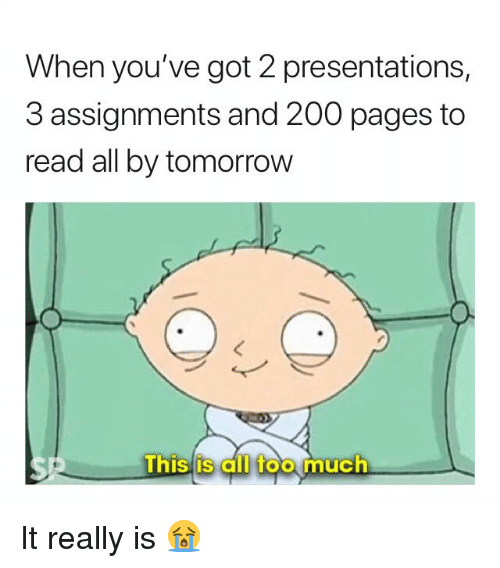 Bailey Jay, Too Much, and Tomorrow: When you've got 2 presentations,  3 assignments and 200 pages to  read all by tomorrow  0  Thislis cll too much It really is 😭