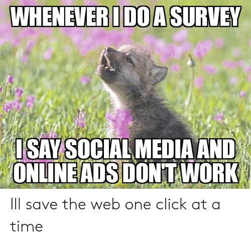 Click, Social Media, and Work: WHENEVER IDOA SURVEY  SAY SOCIAL MEDIA AND  ONLINE ADS DONT WORK Ill save the web one click at a time
