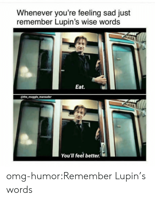 Omg, Tumblr, and Blog: Whenever you're feeling sad just  remember Lupin's wise words  Eat.  @the muggle marauder  You'lI feel better. omg-humor:Remember Lupin's words