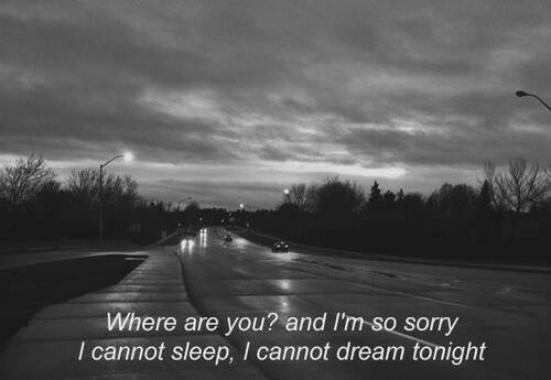 Sorry, Sleep, and Dream: Where are you? and I'm so sorry  I cannot sleep, I cannot dream tonight