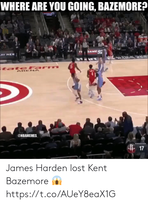 James Harden, Kent Bazemore, and Lost: WHERE ARE YOU GOING, BAZEMORE?  @NBAMEMES  17 James Harden lost Kent Bazemore 😱 https://t.co/AUeY8eaX1G