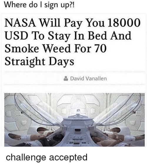 Nasa, Weed, and Marijuana: Where do I sign up?!  NASA Will Pay You 18000  USD To Stay In Bed And  Smoke Weed For 70  Straight Days  David Vanaller challenge accepted