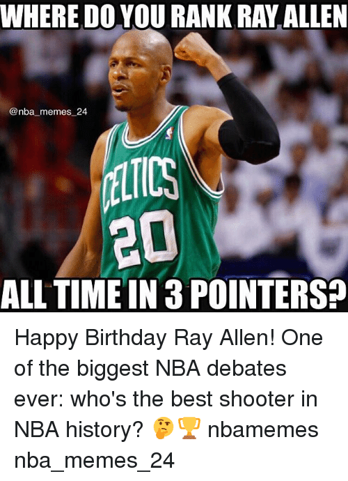 Birthday, Memes, and Nba: WHERE DO YOU RANK RAY ALLEN  @nba_memes 24  LTICS  ALL TIME IN 3 POINTERS? Happy Birthday Ray Allen! One of the biggest NBA debates ever: who's the best shooter in NBA history? 🤔🏆 nbamemes nba_memes_24