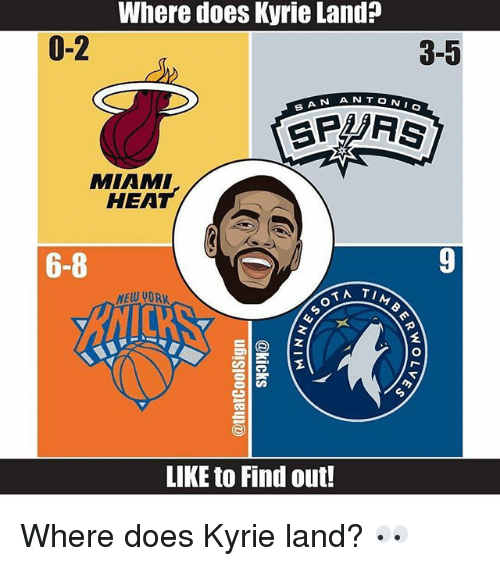 Memes, Miami Heat, and Heat: Where does Kyrie Land?  0-2  3-5  S AN A N  MIAMI  HEAT  6-8  MEW PORK  LIKE to Find out! Where does Kyrie land? 👀