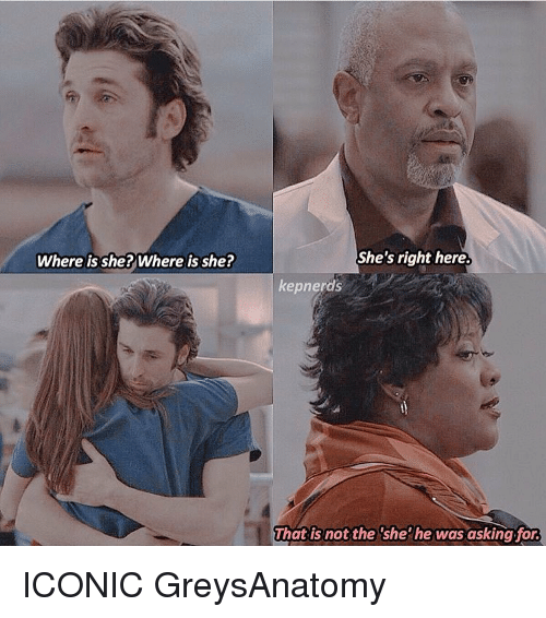 Memes, Iconic, and 🤖: Where is she? Where is she?  She's right here.  kepnerds  That is not the she he was asking for. ICONIC GreysAnatomy