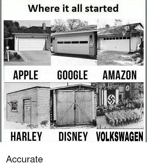 Amazon, Apple, and Google: Where it all started  APPLE GOOGLE AMAZON  HARLEY DISNEYVOLKSWAGEN Accurate