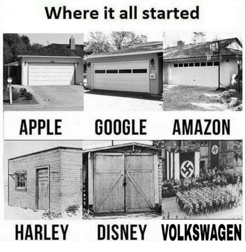 Apple, Disney, and Harley: Where it all started  APPLE GOOGLEAMAZON  HARLEY DISNEY VOLKSWAGEN