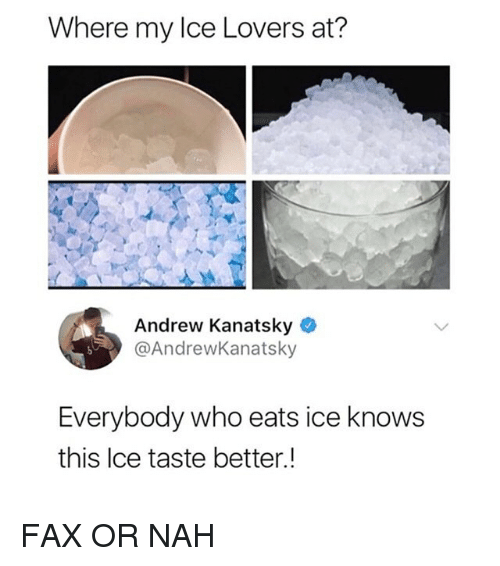 Memes, 🤖, and Ice: Where my Ice Lovers at?  Andrew Kanatsky  @AndrewKanatsky  Everybody who eats ice knows  this Ice taste better.! FAX OR NAH