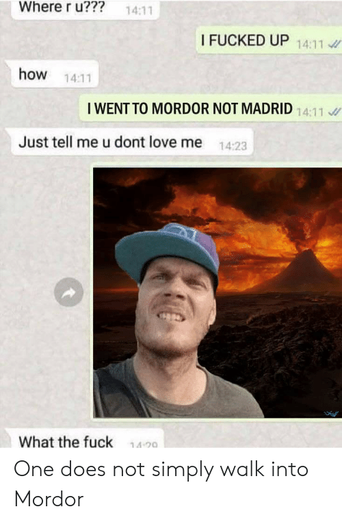 Love, Lord of the Rings, and How: Where r u???  14:11  I FUCKED UP 14:11  how 14:11  I WENT TO MORDOR NOT MADRID  Just tell me u dont love me 14:23  What the fuck  14-20 One does not simply walk into Mordor