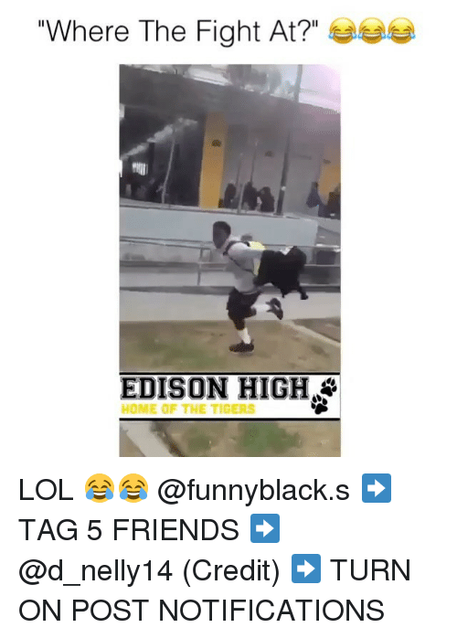 """Friends, Lol, and Edison: Where The Fight At?""""  EDISON HIGH  HOME OF THE TIGERS LOL 😂😂 @funnyblack.s ➡️ TAG 5 FRIENDS ➡️ @d_nelly14 (Credit) ➡️ TURN ON POST NOTIFICATIONS"""