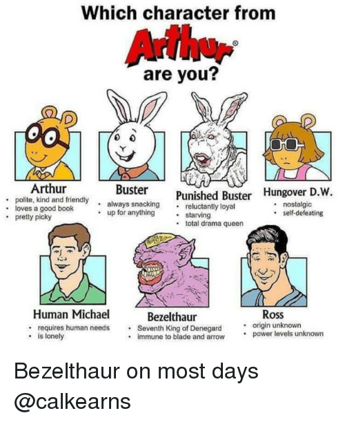 Arthur, Blade, and Memes: Which character from  Arthu  are you?  Arthur  Buster  . polite, kind and friendyalways snackingreluctantly loyal  . loves a good book  snackingPunished Buster Hungover D.W,  . nostalgic  up for anything . sta  self-defeating  pretty picky  .total drama queen  Ross  .origin unknown  Human Michael  : requires human needs.  . is lonely  Bezelthaur  Seventh King of Denegard  immune to blade and arrow.  power levels unknown Bezelthaur on most days @calkearns
