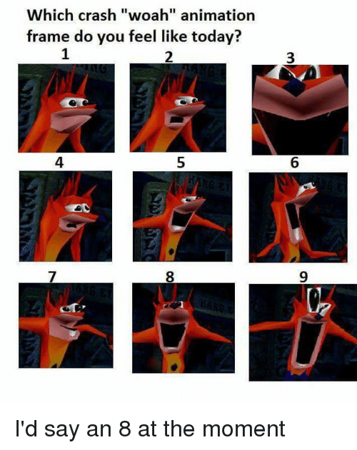 Which crash woah animation frame do you feel like today 1 2 3 4 5 6 memes today and animation which crash woah animation frame do you malvernweather Gallery