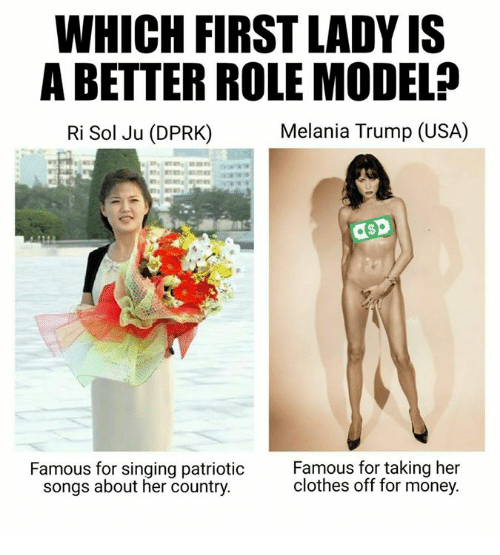 Clothes, Dank, and Melania Trump: WHICH FIRST LADY IS  ABETTER ROLE MODELP  Melania Trump (USA)  Ri Sol Ju (DPRK)  asp  Famous for singing patriotic  Famous for taking her  clothes off for money.  songs about her country.