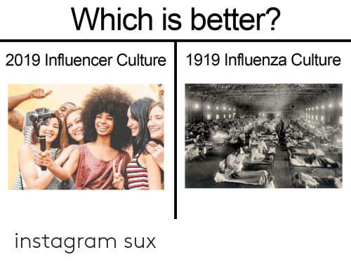 Instagram, Reddit, and Influenza: Which is better?  2019 Influencer Culture 1919 Influenza Culture instagram sux