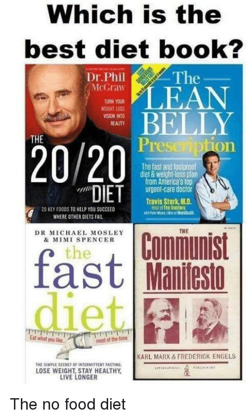 Doctor, Fail, and Food: Which is the  best diet book?  The  Dr.Phil  McGraw  TURN YOUR  LEAN  WEIGHT LOSS  ELLY  Prese iption  THE  20 /20  The fast and foolproof  diet & weight-loss plan  from America's top  urgent-care doctor  Travis Stork, M.D.  Host of The Doctors  20 KEY FOODS TO HELP YOU SUCCEED  WHERE OTHER DIETS FAIL  THE  DR MICHAEL MOSLEY  & MIMI SPENCER  the  Iast Manitesto  Eat what you like.  most of the time  KARL MARX & FREDERICK ENGELS  THE SIMPLE SECRET OF INTERMITTENT FASTING  LOSE WEIGHT, STAY HEALTHY  LIVE LONGER