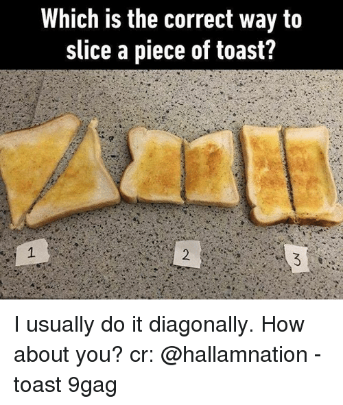 9gag, Memes, and Toast: Which is the correct way to  slice a piece of toast? I usually do it diagonally. How about you? cr: @hallamnation - toast 9gag