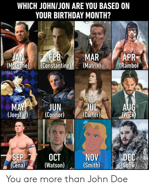 Birthday, Dank, and Doe: WHICH JOHNIJON ARE YOU BASED ON  YOUR BIRTHDAY MONTH?  APR  JA  (McClane  MAR  (Mclane Constantine(Matrixi  R  (Rambo)  e) (Constantine  (JoestarCnnor) (Carter)Wick)  NOVDEC  SEPI-2 OCT  (Cena)(Watso) (Smith)Snow You are more than John Doe