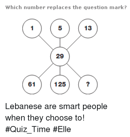 Quiz, Time, and Lebanese: Which number replaces the question mark?  13  29  125  61 Lebanese are smart people when they choose to!   #Quiz_Time #Elle