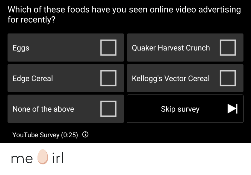 Which of These Foods Have You Seen Online Video Advertising for