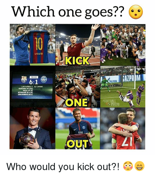 Soccer, Sports, and Messi: Which one goes??  to  unicef &  51  KICK  MESSI S0  ONE  Fl  OUT Who would you kick out?! 😳😁