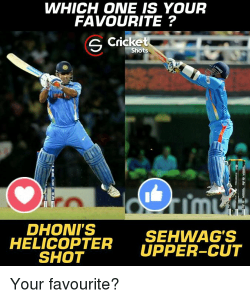 Memes, Cricket, and 🤖: WHICH ONE IS YOUR  FAVOURITE?  G cricket  LI  rm  DHONI'S  SEHWAG'S  HELICOPTER UPPER-CUT  SHOT Your favourite?