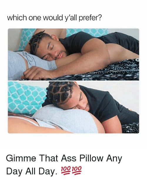 Ass, Dank Memes, and One: which one would y'all prefer? Gimme That Ass Pillow Any Day All Day. 💯💯