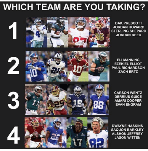 Eli Manning, Jordan, and Jordan Reed: WHICH TEAM ARE YOU TAKING?  DAK PRESCOTT  JORDAN HOWARD  STERLING SHEPARD  JORDAN REED  0  2  ELI MANNING  EZEKIEL ELLIOT  PAUL RICHARDSON  ZACH ERTZ  3  CARSON WENTZ  DERRIUS GUICE  AMARI COOPER  EVAN ENGRAM  DWAYNE HASKINS  SAQUON BARKLEY  ALSHON JEFFREY  JASON WITTEN  4