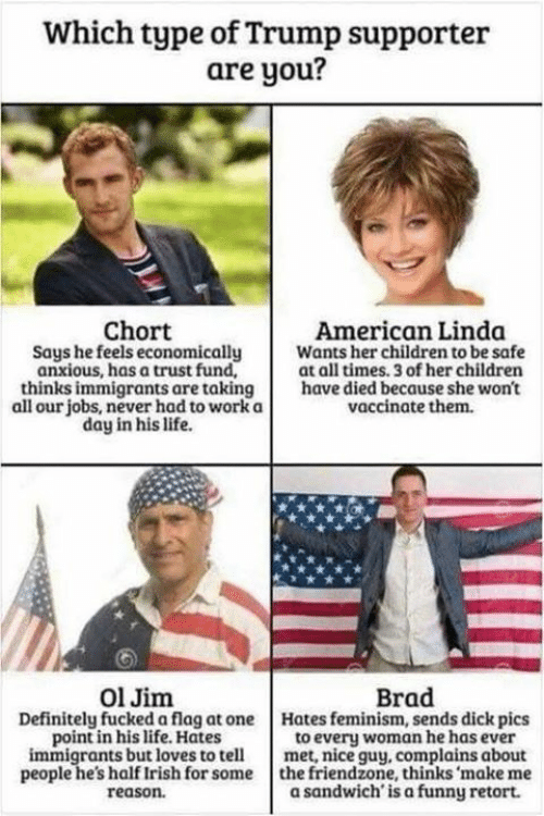 Children, Definitely, and Dick Pics: Which type of Trump supporter  are you?  Chort  Says he feels economically  anxious, has a trust fund,  American Linda  Wants her children to be safe  at all times. 3 of her children  thinks immigrants are taking have died because she won't  all our jobs, never had to work a  vaccinate them.  day in his life.  Ol Jim  Brad  Definitely fucked a flag at oneHates feminism, sends dick pics  to every woman he has ever  immigrants but loves to tellmet, nice guy, complains about  people he's half Irish for some the friendzone, thinks 'make me  a sandwich'is a funny retort.  point in his life. Hates  reason.
