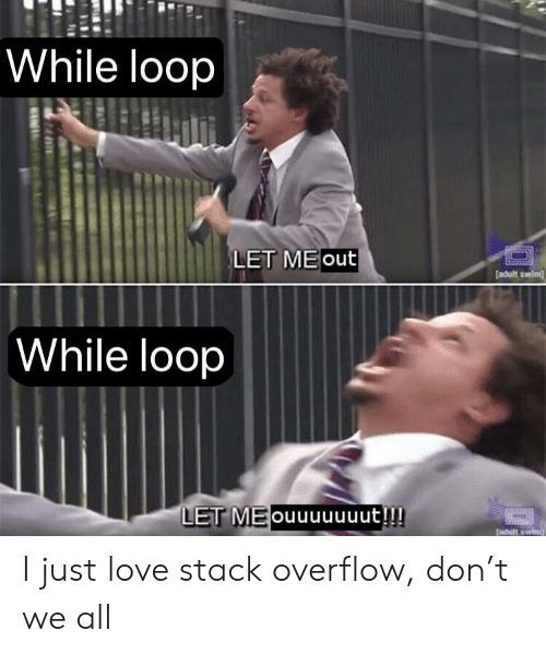 Love, Adult Swim, and Stack: While loop  LET ME out  adult swim  While loop  LET MEouuuuuuut!!! I just love stack overflow, don't we all