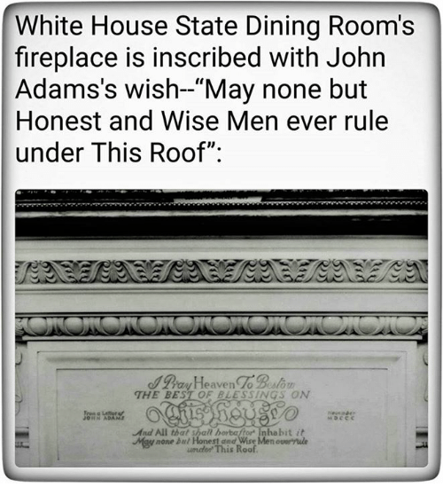 White House Best And State Dining Rooms Fireplace Is Inscribed