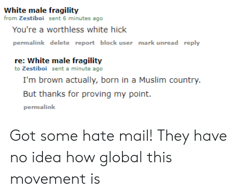 Muslim, Mail, and White: White male fragility  from Zestiboi sent 6 minutes ago  You're a worthless white hick  permalink delete report block user mark unread reply  re: White male fragility  to Zestiboi sent a minute ago  I'm brown actually, born in a Muslim country.  But thanks for proving my point  permalink Got some hate mail! They have no idea how global this movement is