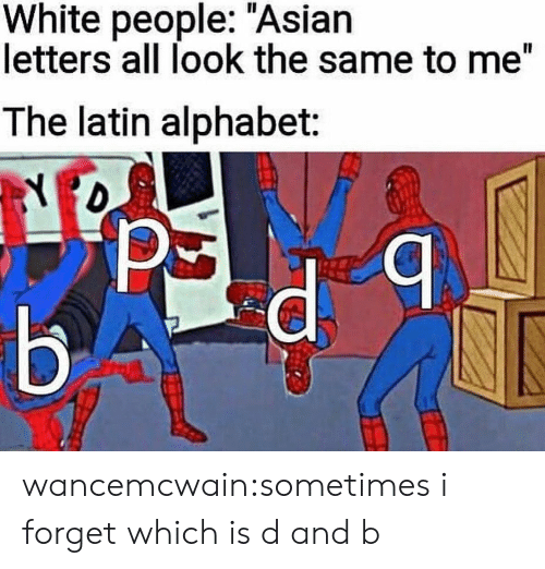 "Asian, Tumblr, and White People: White people: ""Asian  letters all look the same to me""  The latin alphabet: wancemcwain:sometimes i forget which is d and b"