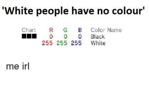 White People Have No Colour Chart R G B Color Name Ll 0 Black 255